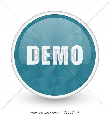 Demo brillant crystal design round blue web icon.