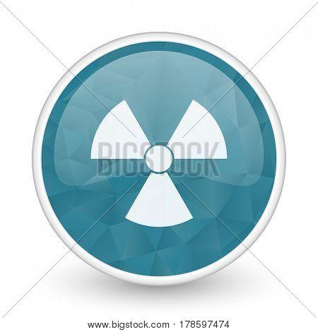 Radiation brillant crystal design round blue web icon.