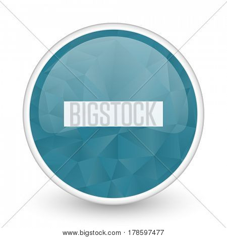 Minus brillant crystal design round blue web icon.