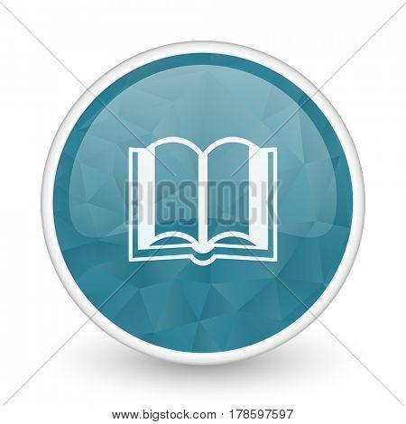 Book brillant crystal design round blue web icon.