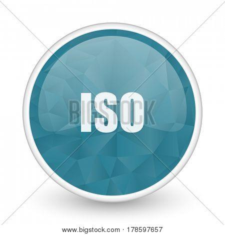 ISO brillant crystal design round blue web icon.