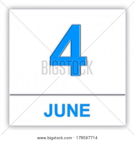 June 4. Day on the calendar. 3D illustration