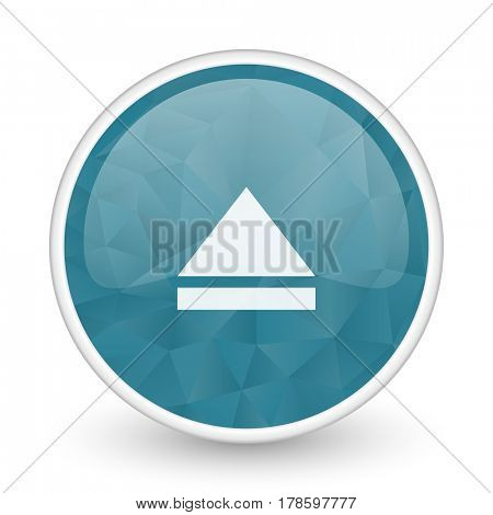 Eject brillant crystal design round blue web icon.