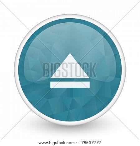 Eject brillant crystal design round blue web icon.