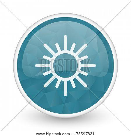 Sun brillant crystal design round blue web icon.