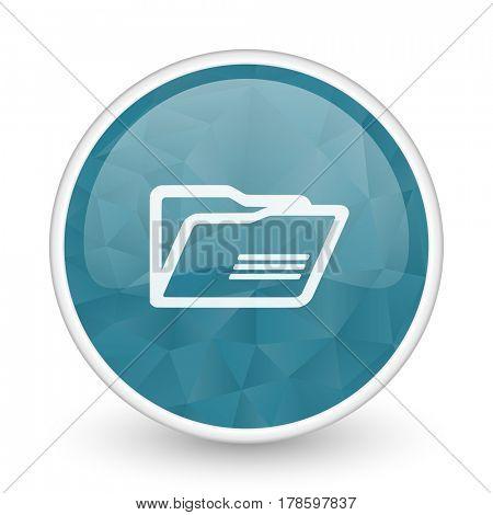 Folder brillant crystal design round blue web icon.
