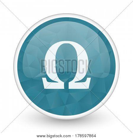 Omega brillant crystal design round blue web icon.