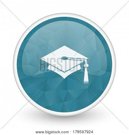 Education brillant crystal design round blue web icon.