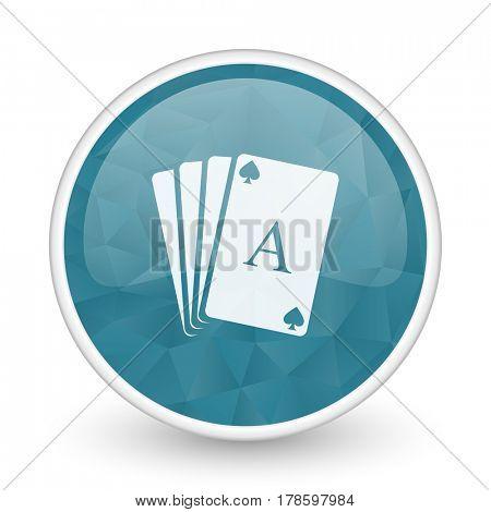 Card brillant crystal design round blue web icon.