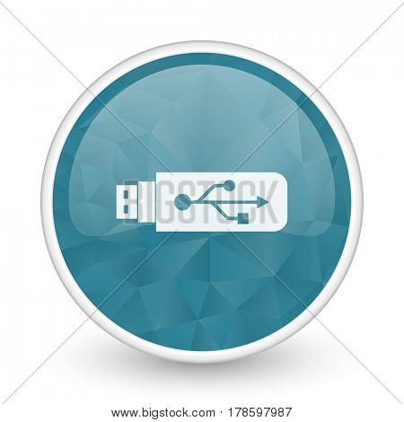 Usb brillant crystal design round blue web icon.