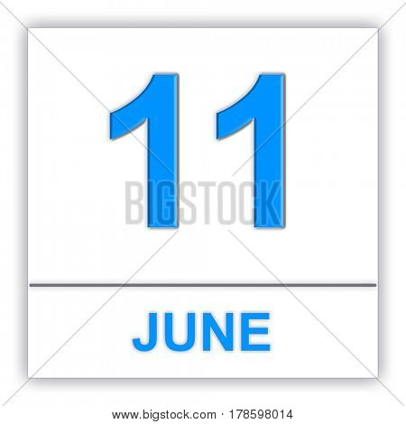 June 11. Day on the calendar. 3D illustration