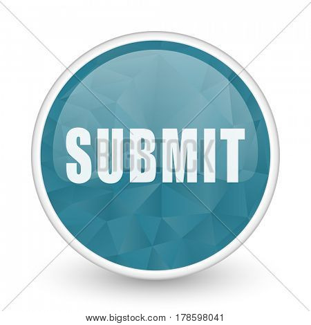 Submit brillant crystal design round blue web icon.