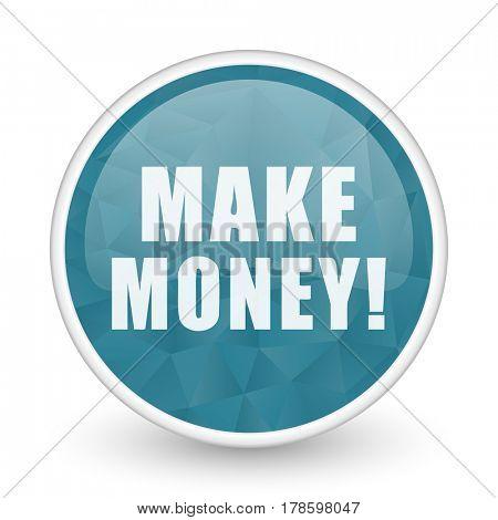 Make money brillant crystal design round blue web icon.