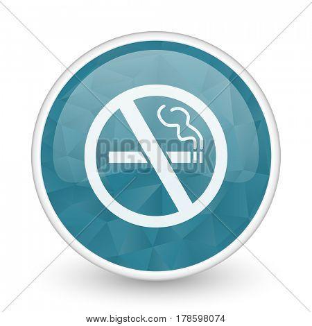 No smoking brillant crystal design round blue web icon.