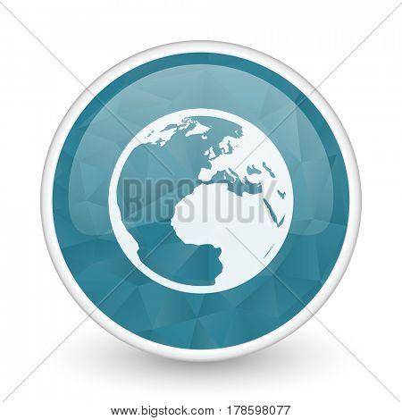 Earth brillant crystal design round blue web icon.