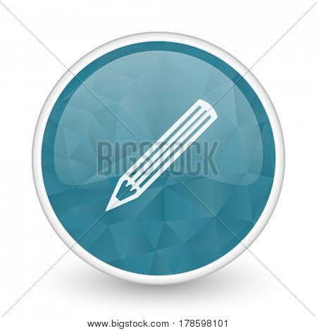 Pencil brillant crystal design round blue web icon.