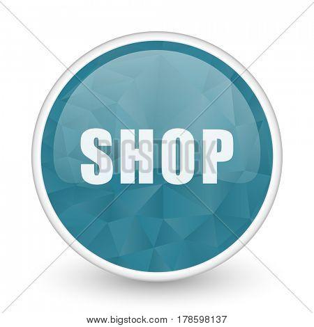 Shop brillant crystal design round blue web icon.