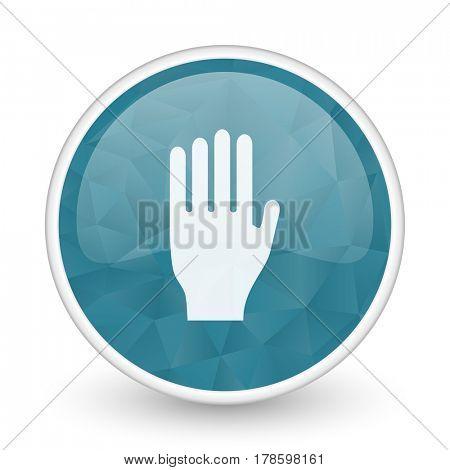 Stop brillant crystal design round blue web icon.