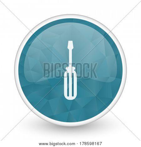 Tool brillant crystal design round blue web icon.