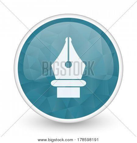 Pen brillant crystal design round blue web icon.