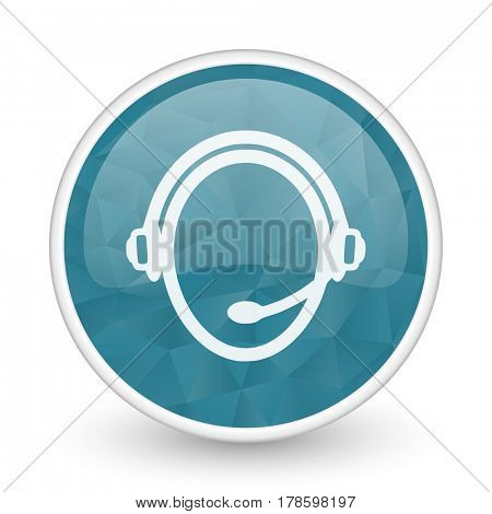 Customer service brillant crystal design round blue web icon.