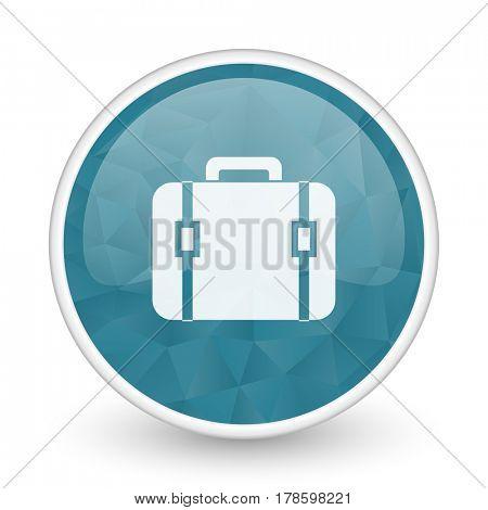 Bag brillant crystal design round blue web icon.