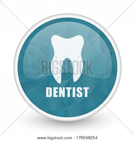 Dentist brillant crystal design round blue web icon.