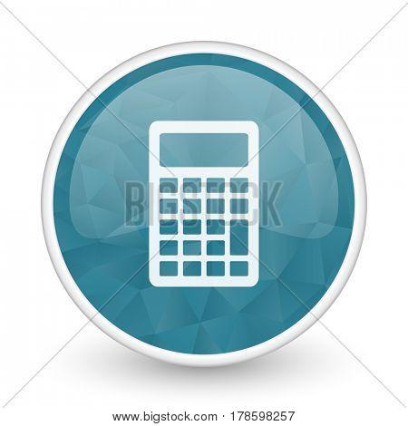 Calculator brillant crystal design round blue web icon.