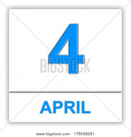 April 4. Day on the calendar. 3D illustration