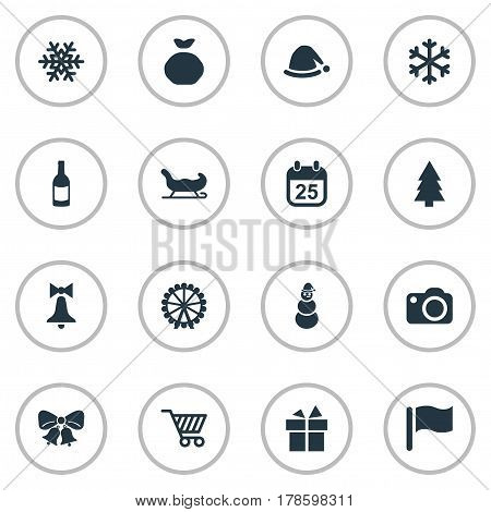 Vector Illustration Set Of Simple New Year Icons. Elements Ice Man, Bag, Basket And Other Synonyms Cart, Cap And Photo.