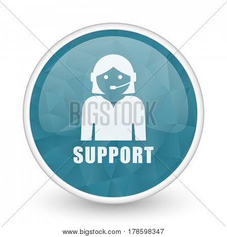 Support brillant crystal design round blue web icon.