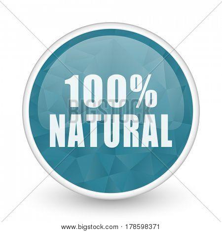 Natural brillant crystal design round blue web icon.