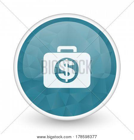 Financial brillant crystal design round blue web icon.