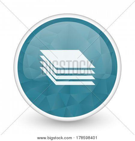 Layers brillant crystal design round blue web icon.
