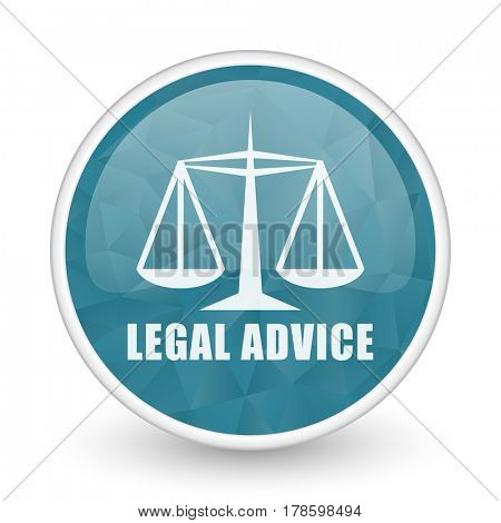 Legal advice brillant crystal design round blue web icon.