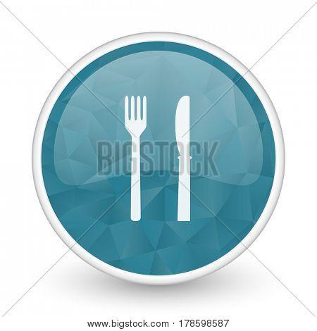 Eat brillant crystal design round blue web icon.