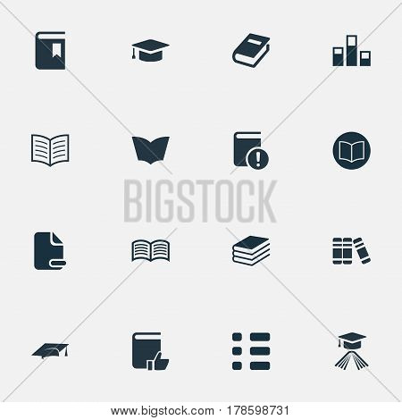 Vector Illustration Set Of Simple Books Icons. Elements Pile, Graduation Hat, Important Reading And Other Synonyms Book, Important And Stack.