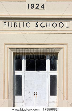Entrance to a Vintage Public School circa 1924