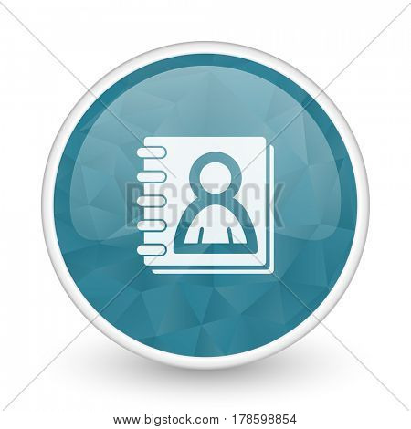 Address book brillant crystal design round blue web icon.