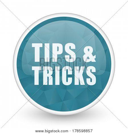 Tips tricks brillant crystal design round blue web icon.