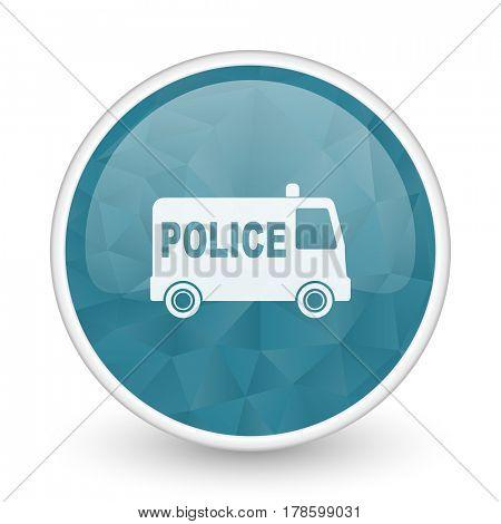 Police brillant crystal design round blue web icon.