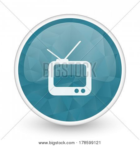 Tv brillant crystal design round blue web icon.