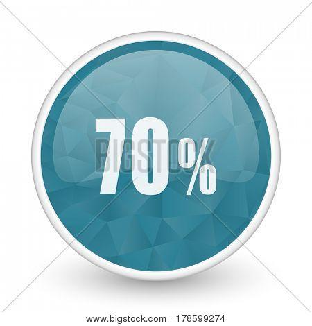 70 percent brillant crystal design round blue web icon.