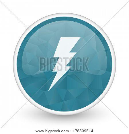 Bolt brillant crystal design round blue web icon.