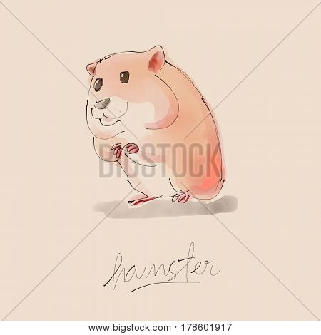 Hamster Watercolor illustration