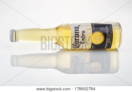 MINSK BELARUS - MARCH 27 2017: Editorial photo of bottle of Corona Extra beer one of the top-selling beers worldwide is a pale lager produced by Cerveceria Modelo in Mexico