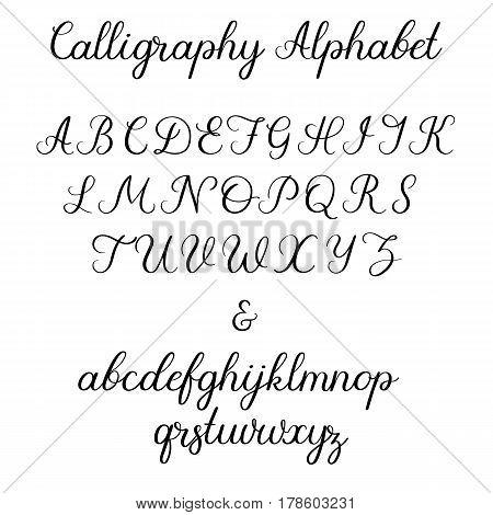 Calligraphic Alphabet. Handwritten Brush Font. Uppercase, Lowercase, Ampersand. Wedding Calligraphy