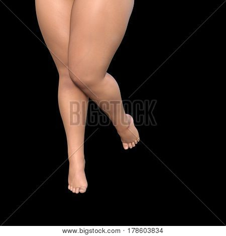 Conceptual big fat overweight obese young woman body, cellulite female legs isolated on black background 3D illustration