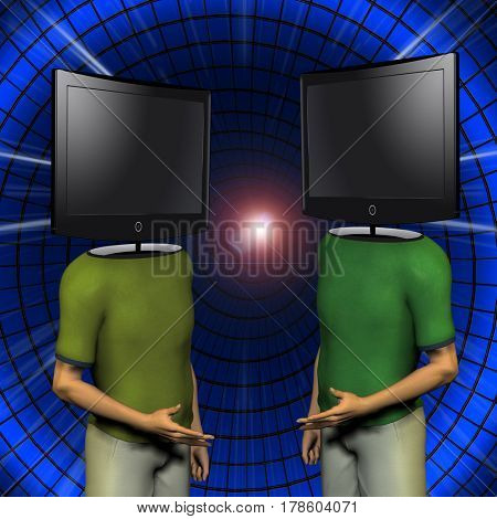 Video men before large screens  3D Rendering