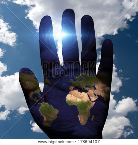 Earth on Hand with sky background   3D Rendering  Some elements provided courtesy of NASA